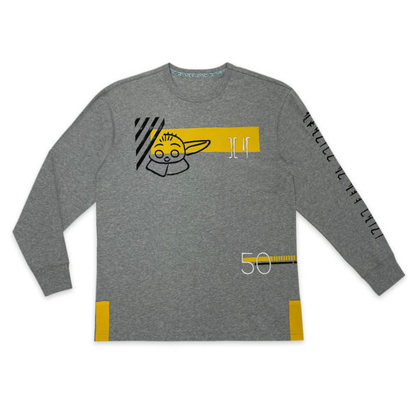 The Child long sleeve tee will bring a bounty of compliments. This heathered pullover top features art and embroidery with Mandalorian lettering, plus elemental Grogu design. $34.99 Photo credits (C) Disney Enterprises, Inc. All Rights Reserved