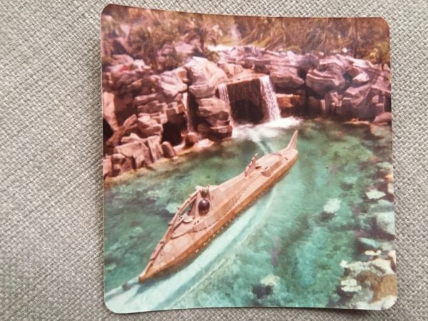 Here's a picture of the Nautilus entering the show building in the 20,000 Leagues Under the Sea attraction.
