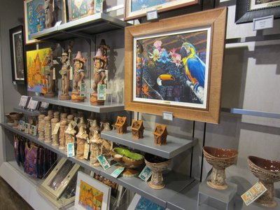 Almost all of the back wall of the store currently holds this Tiki Merchandise.