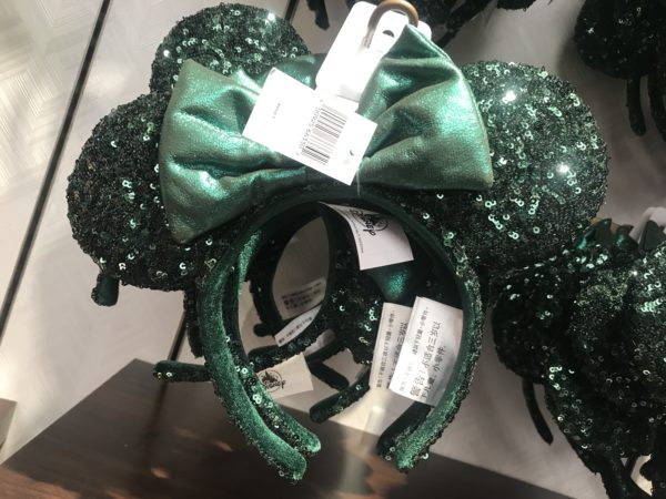 Green sequined Minnie Ear headbands are $29.99.