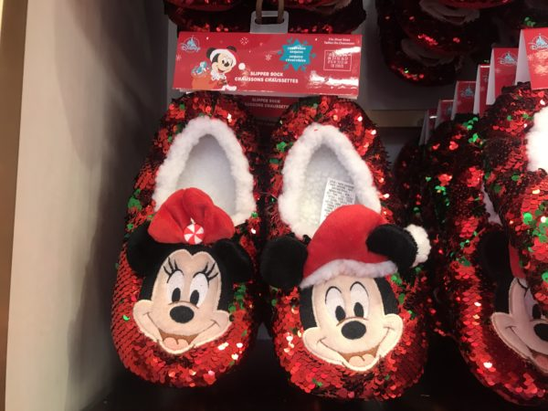 Sequined Mickey Mouse and Minnie Mouse slippers.