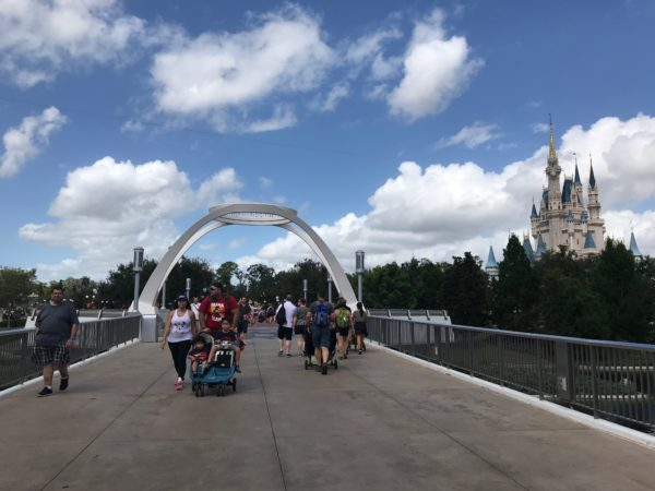 Looking back at the arch from Tomorrowland, toward Cinderella Castle.