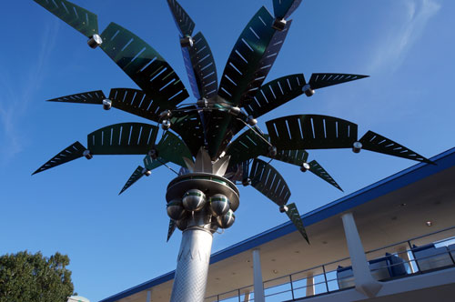 The metallic trees are beautiful pieces of sculpture.