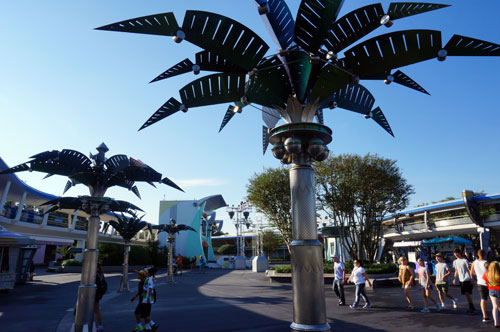 Disney placed the trees near Space Mountain and the Tomorrowland Power & Light Company.