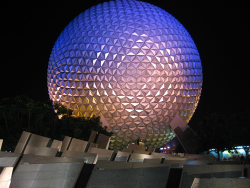 It's fun to frame Spaceship Earth with trees or other objects.