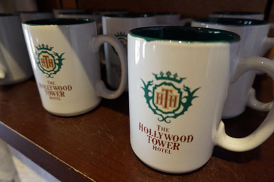 Hollywood Tower Hotel coffee mugs.