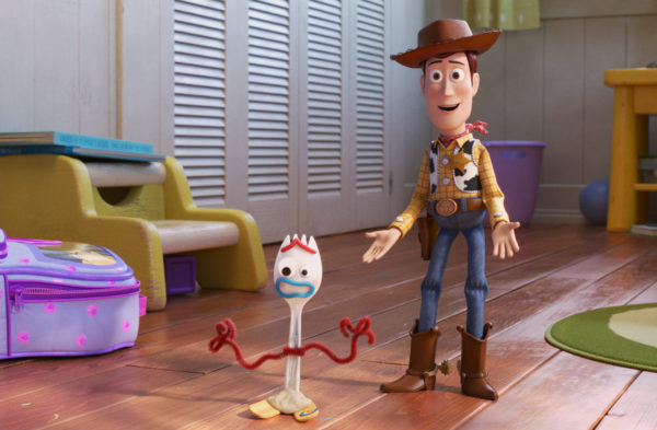 Toy Story 4 is mostly a story about Woody, but he introduces a new character named Forky. Photo credits (C) Disney Enterprises, Inc. All Rights Reserved.