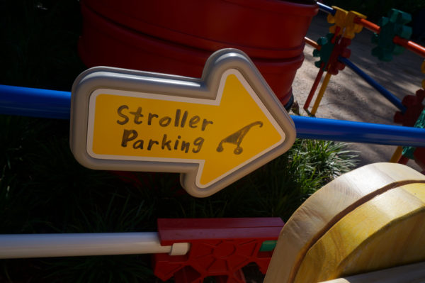 The toys thought of everything when they were designing the land including stroller parking!