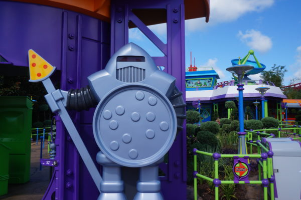 Emperor Zurg's men are guarding Alien Swirling Saucers. Look! his sword is even made of a pointy pizza slice!