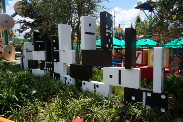 These stacked up dominoes make a cool wall!