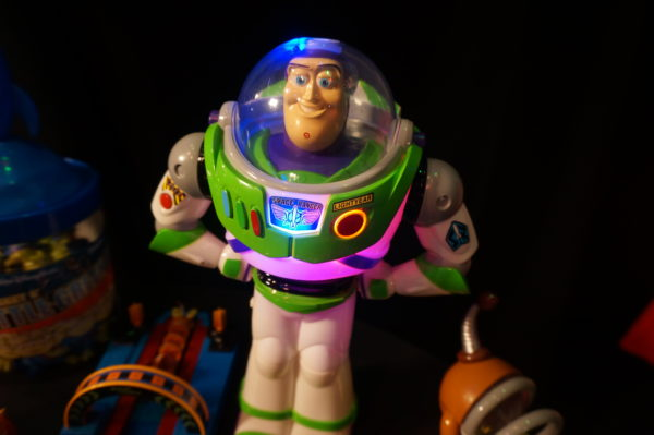 This Buzz Lightyear toy lights up!