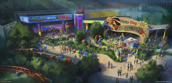Board Slinky Dog for a family-friendly rollercoaster ride through Toy Story Land! Photo credits (C) Disney Enterprises, Inc. All Rights Reserved