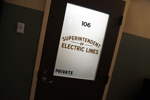 I like this door - Superintendent of Electric Lines.