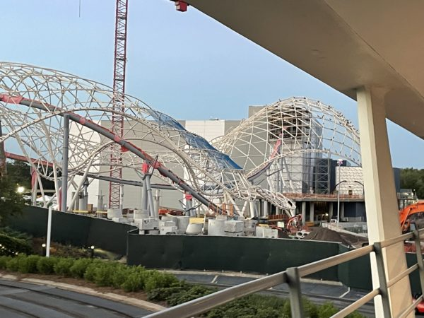 We can see that the track entrance into the show building, as seen in the top right corner of the photo, is open once again.