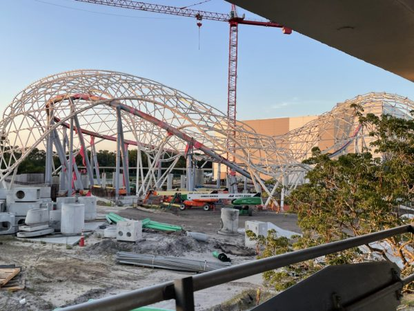 The temporary brown girders that held up the canopy was it was being built are now completely gone.