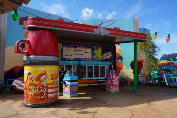 Here's Woody Lunch Box- a counter-service restaurant inside Toy Story Land.