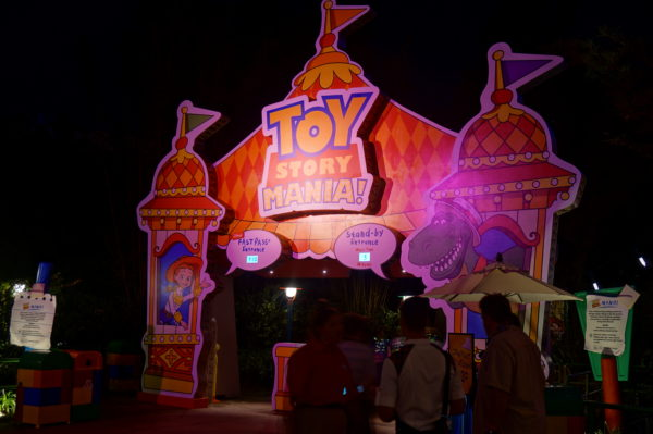 Toy Story Mania is well lit at night too!
