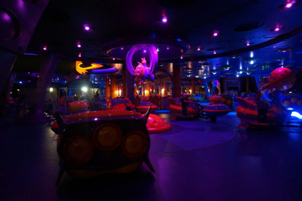 Alien Swirling Saucers is like a discotech at night!