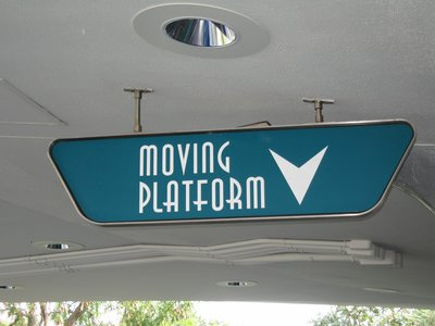 The moving platform makes it easy for everyone to get into and out of the Tomorrowland Transit Authority cars.