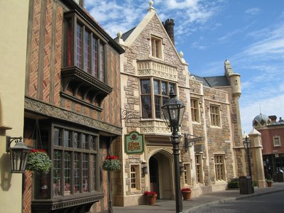 The streets of jolly old England come to life in the United Kingdom Pavilion.