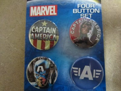 Set of four Marvel buttons.