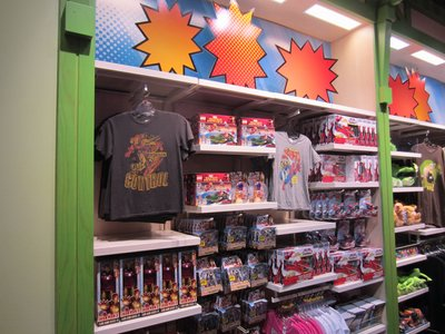 A large display of Marvel merchandise at Once Upon A Toy.