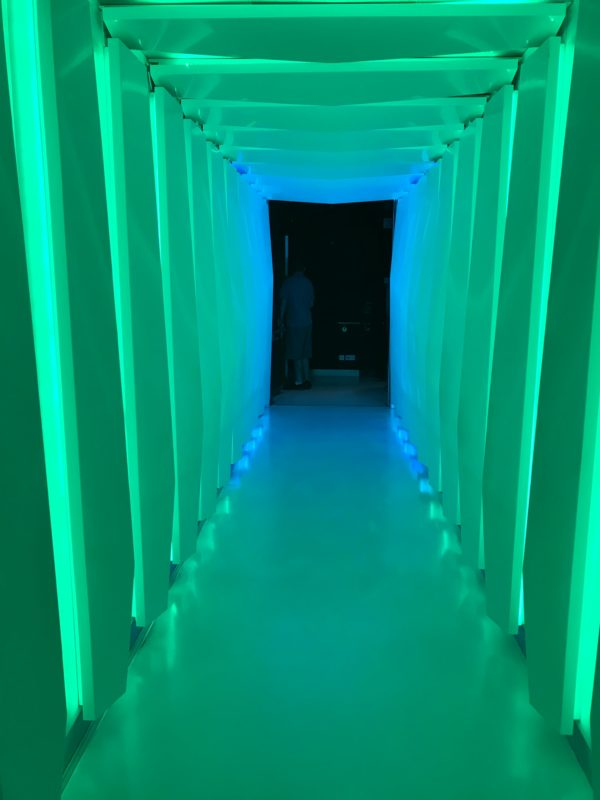 Check out this cool lighted hallway that leads to the Vibe!