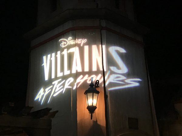 Disney projected this Villains logo onto the tower at Pirates of the Caribbean.