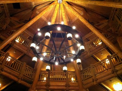 The main lobby of the Villas at Disney's Wilderness Lodge is impressive and generally a quiet and peaceful place.