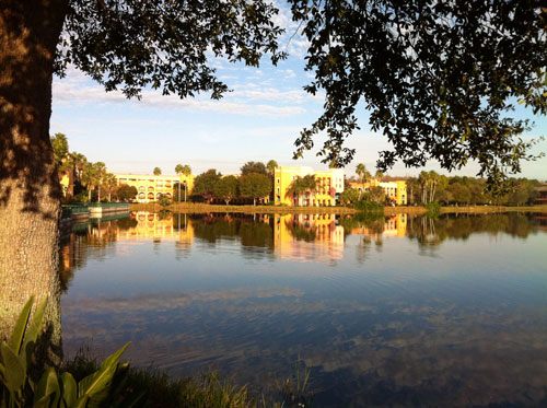 A stroll around Coronado Resort's Lake Dorado is a fun way to start or end a day.