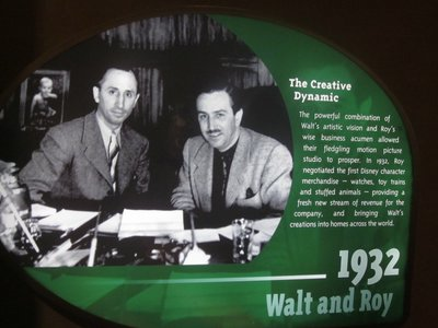 From the One Man's Dream attraction at Disney's Hollywood Studios, this early picture shows a young Roy O Disney and his younger brother Walt Disney together.