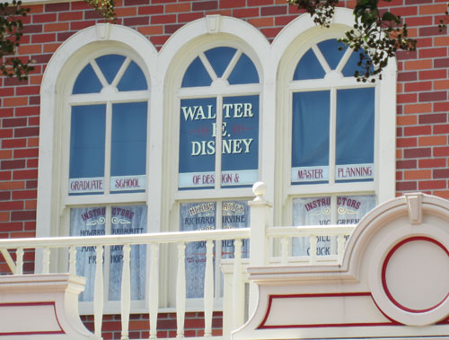 This Main Street USA window is a tribute to Walt.