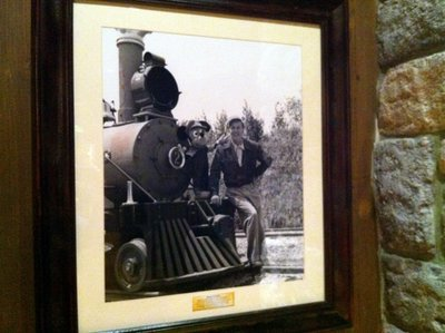 magineer Roger Broggie took this photograph of Walt Disney and Mickey Mouse at Disneyland in 1955. The headlamp was not yet installed on the new steam engine.