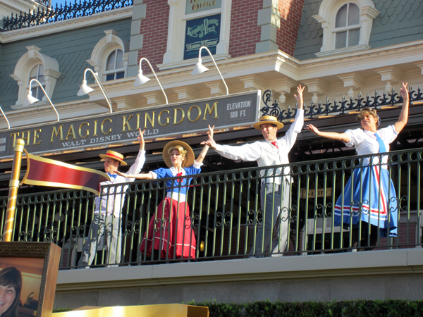 The Magic Kingdom Welcome Show has taken place on the train station platform for many years.