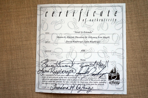 Certificate of Authenticity signed by the artists.  Limited edition of 650.