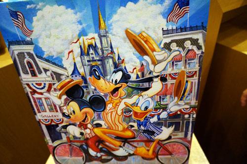 Mickey, Goofy, and Donald on Main Street USA.