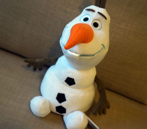 Soft and cuddly Olaf plush toy.