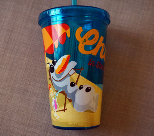 "Olaf ""Chillin"" cup with matching straw."