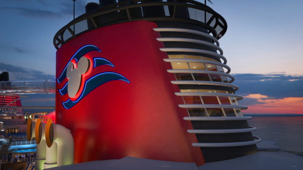 The two-story tall Wish Suite is in the forward funnel of the ship.