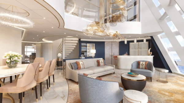 The living room and dining area have amazing views of the upper decks and the sea.