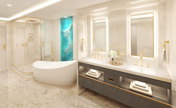 Relax in the soaker tub in a bathroom that looks like a spa.