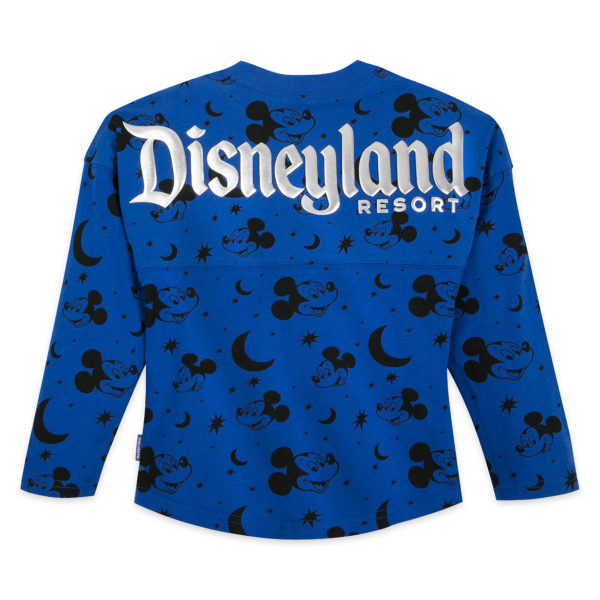 Mickey Mouse Spirit Jersey for Kids – Disneyland Resort – Wishes Come True Blue: It's all blue skies when they're wearing this soft, stylish Spirit Jersey covered in Mickey, moons and stars. Part of the Disney Parks Wishes Come True Blue Collection, the top features silver puff ink Disneyland Resort lettering on the back and a silver logo on the chest. $49.99