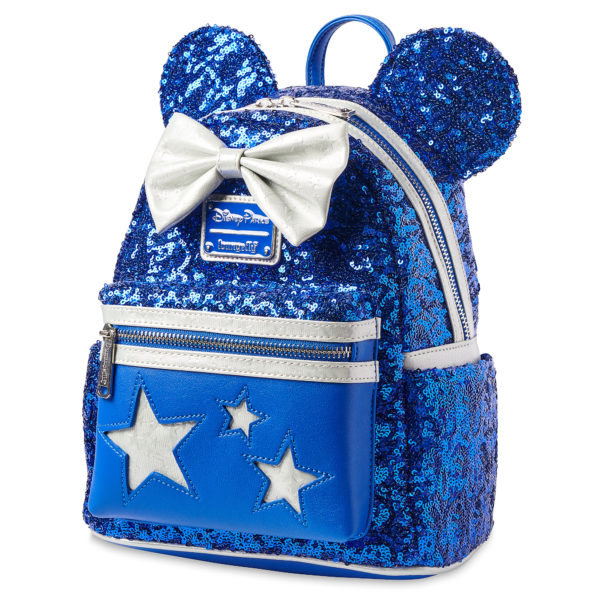 Minnie Mouse Sequined Loungefly Mini Backpack – Wishes Come True Blue: Minnie's true blue fashion shines on this dazzling mini backpack by Loungefly. Featuring a sequined design, Minnie ears, a white star-embossed bow, plus white star cutouts, this bag's compact silhouette makes it easy to carry your essentials around in style. $90.00