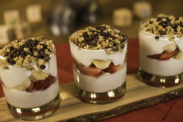 The Banana Split Yogurt Parfait will include layers of banana-vanilla Greek yogurt, fresh bananas, strawberries and pineapple topped with granola and chocolate chips. Photo credits (C) Disney Enterprises, Inc. All Rights Reserved
