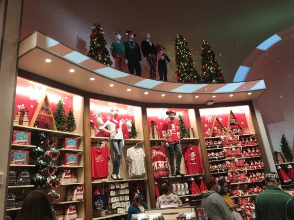 The walls of the seasonal merchandise room are ready for Christmas.