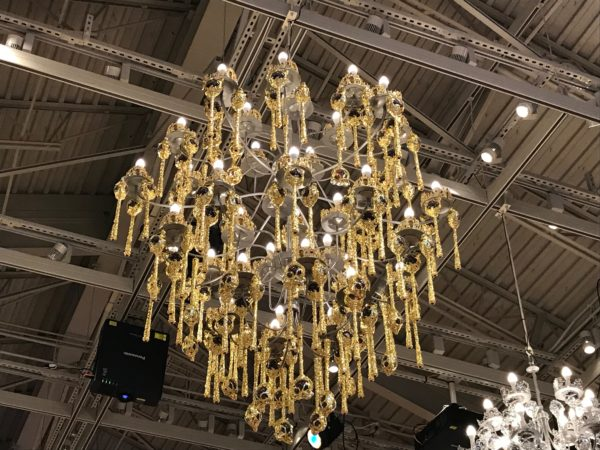 The chandeliers in the Princess room are made of tiaras and scepters.