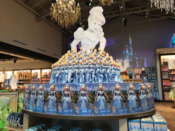 Cinderella's dress in the Princess room is made up of Cinderella dolls!