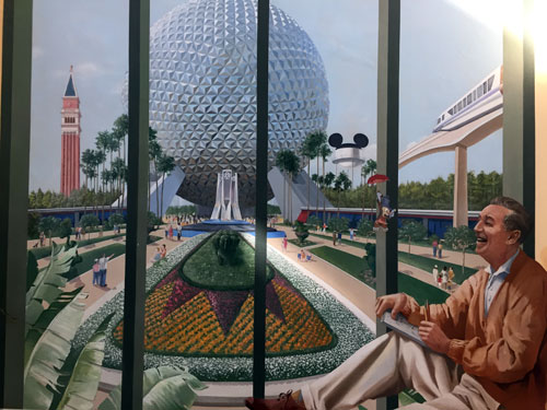 Disney Casting Center - Walt looking at Epcot and Spaceship Earth.