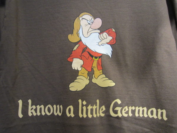 Snow White is a German story, so putting one of the Seven Dwarfs on a t-shirt is fitting!
